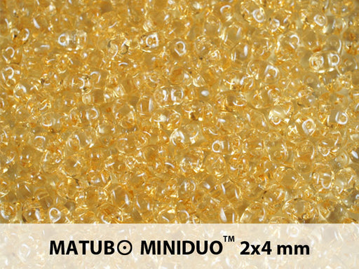 10 g 2-hole MiniDuo™ Pressed Beads, 2x4mm, Crystal Orange Luster, Czech Glass
