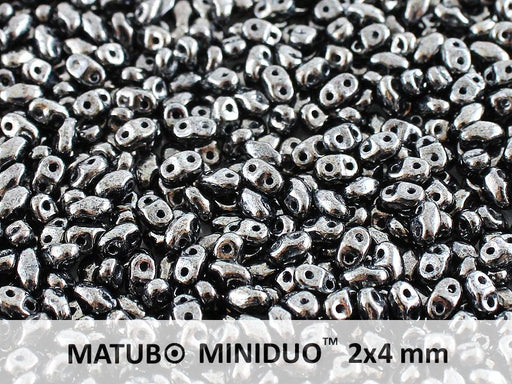 10 g 2-hole MiniDuo™ Pressed Beads, 2x4mm, Jet Hematite (Gray), Czech Glass