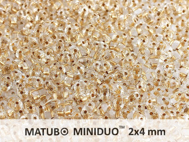 10 g 2-hole MiniDuo™ Pressed Beads, 2x4mm, Crystal Bronze Lined, Czech Glass