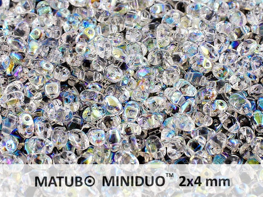 10 g 2-hole MiniDuo™ Pressed Beads, 2x4mm, Crystal AB, Czech Glass