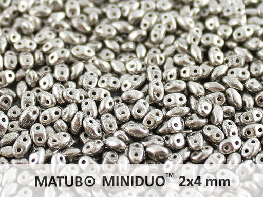 10 g 2-hole MiniDuo™ Pressed Beads, 2x4mm, Jet Silver Paste (Old Silver), Czech Glass