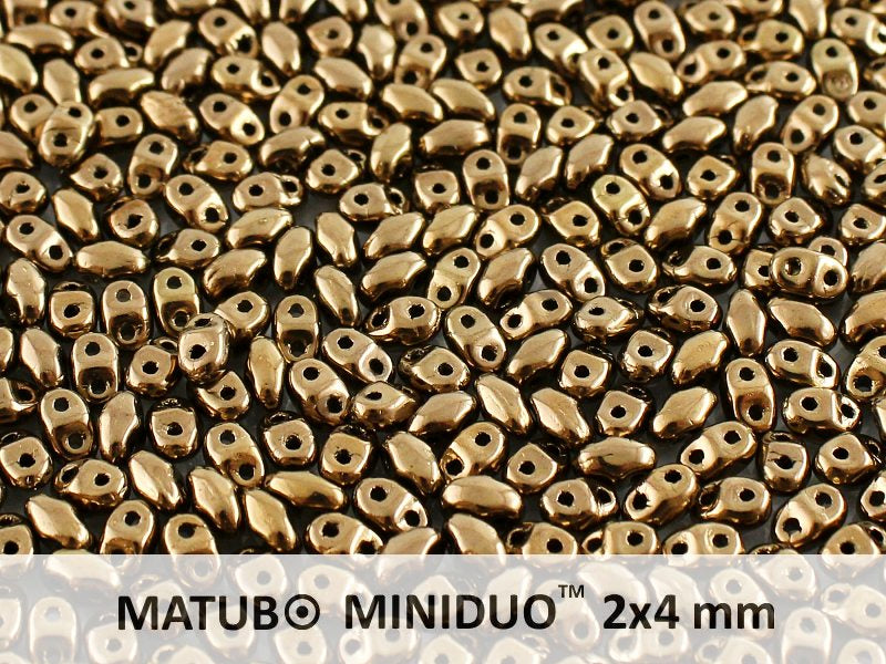 10 g 2-hole MiniDuo™ Pressed Beads, 2x4mm, Crystal Gold Bronze (Gold Bronze 24 Carat), Czech Glass