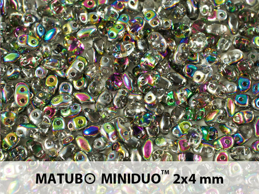 10 g 2-hole MiniDuo™ Pressed Beads, 2x4mm, Crystal Vitrail, Czech Glass
