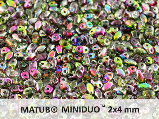 10 g 2-hole MiniDuo™ Pressed Beads, 2x4mm, Magic Violet Green, Czech Glass