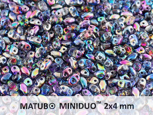 10 g 2-hole MiniDuo™ Pressed Beads, 2x4mm, Magic Blue Pink, Czech Glass