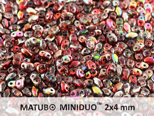 10 g 2-hole MiniDuo™ Pressed Beads, 2x4mm, Magic Red Brown, Czech Glass