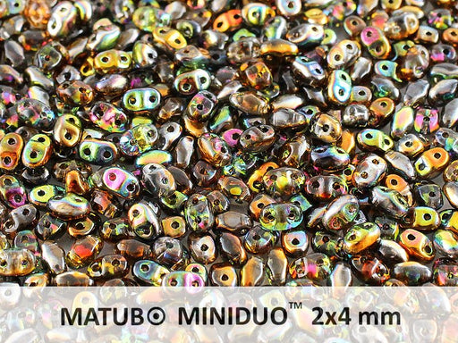 10 g 2-hole MiniDuo™ Pressed Beads, 2x4mm, Magic Orange Gray, Czech Glass