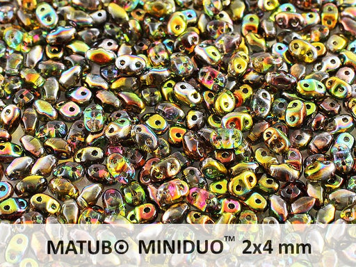 10 g 2-hole MiniDuo™ Pressed Beads, 2x4mm, Magic Yellow Brown, Czech Glass