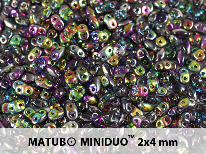 10 g 2-hole MiniDuo™ Pressed Beads, 2x4mm, Magic Violet Gray, Czech Glass