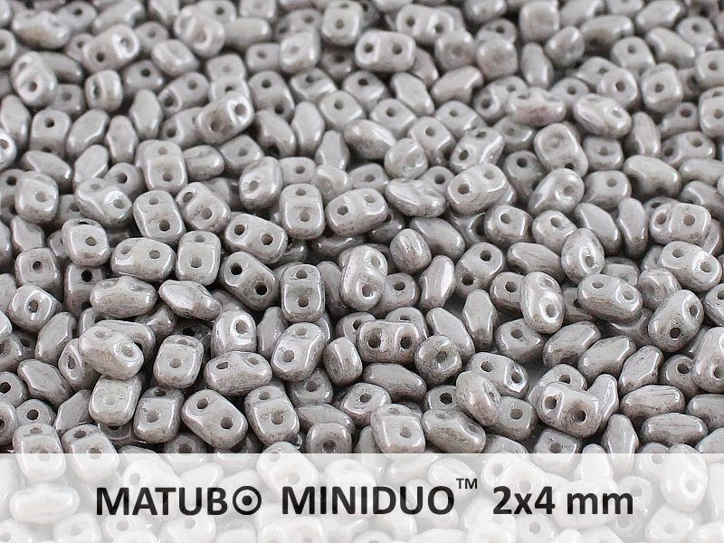 10 g 2-hole MiniDuo™ Pressed Beads, 2x4mm, Chalk Jet Luster, Czech Glass