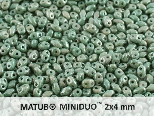 10 g 2-hole MiniDuo™ Pressed Beads, 2x4mm, Chalk Green Luster, Czech Glass
