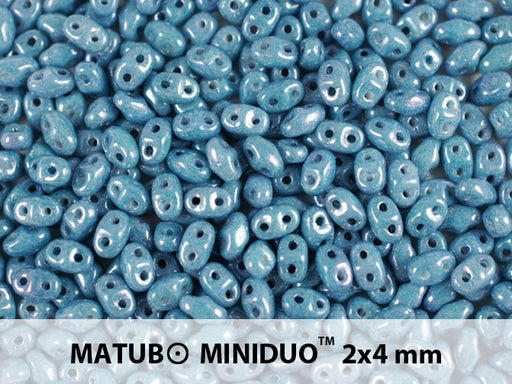10 g 2-hole MiniDuo™ Pressed Beads, 2x4mm, Chalk Blue Luster, Czech Glass