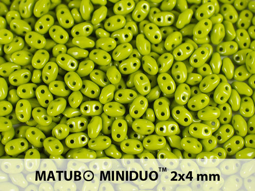 10 g 2-hole MiniDuo™ Pressed Beads, 2x4mm, Opaque Green, Czech Glass