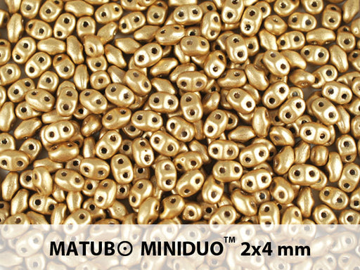 10 g 2-hole MiniDuo™ Pressed Beads, 2x4mm, Crystal Bronze Pale Gold (Aztec Gold), Czech Glass