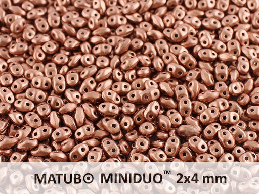 10 g 2-hole MiniDuo™ Pressed Beads, 2x4mm, Crystal Bronze Copper, Czech Glass