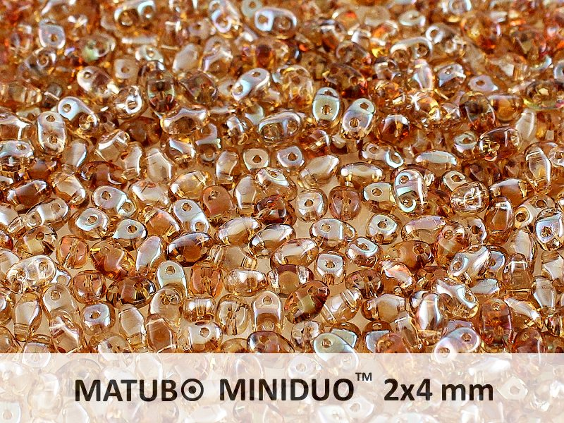 10 g 2-hole MiniDuo™ Pressed Beads, 2x4mm, Crystal Celsian, Czech Glass