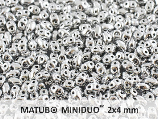 10 g 2-hole MiniDuo™ Pressed Beads, 2x4mm, Crystal Full Labrador (Silver Metallic), Czech Glass