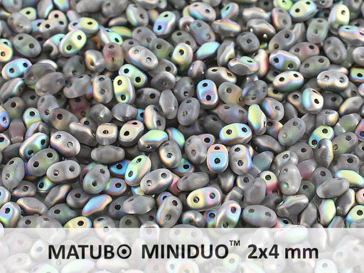 10 g 2-hole MiniDuo™ Pressed Beads, 2x4mm, Crystal Vitrail Matte, Czech Glass