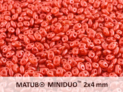 10 g 2-hole MiniDuo™ Pressed Beads, 2x4mm, Chalk Lava Red, Czech Glass