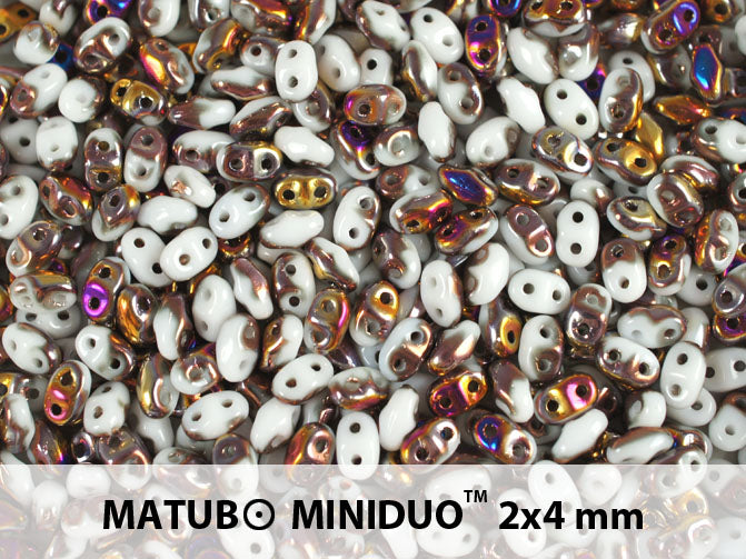 10 g 2-hole MiniDuo™ Pressed Beads, 2x4mm, Chalk Sliperit, Czech Glass