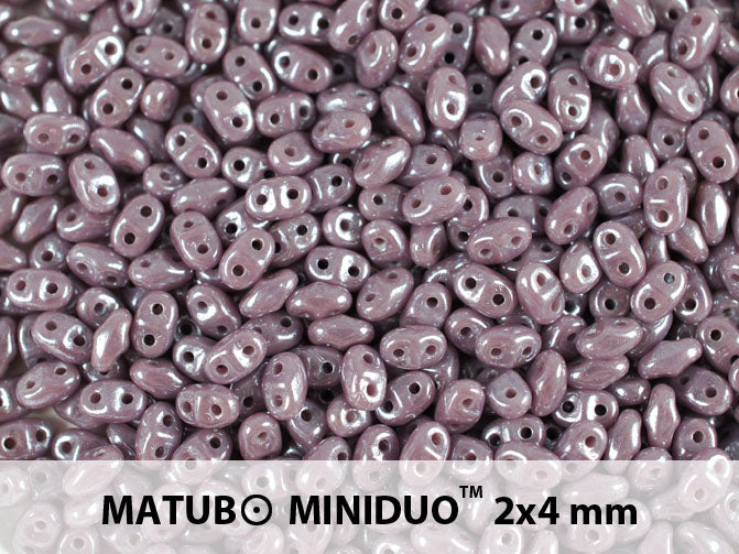 10 g 2-hole MiniDuo™ Pressed Beads, 2x4mm, Opaque Violet White Luster, Czech Glass