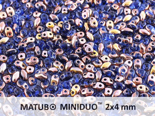 10 g 2-hole MiniDuo™ Pressed Beads, 2x4mm, Sapphire Capri Gold, Czech Glass
