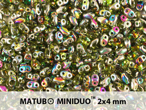 10 g 2-hole MiniDuo™ Pressed Beads, 2x4mm, Olivine Vitrail, Czech Glass