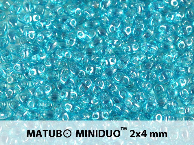 10 g 2-hole MiniDuo™ Pressed Beads, 2x4mm, Aquamarine White Luster, Czech Glass
