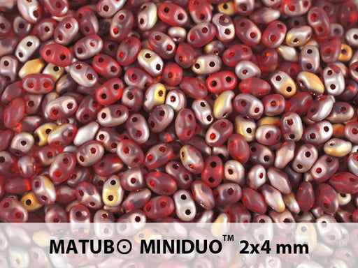 10 g 2-hole MiniDuo™ Pressed Beads, 2x4mm, Ruby Capri Gold Matte, Czech Glass