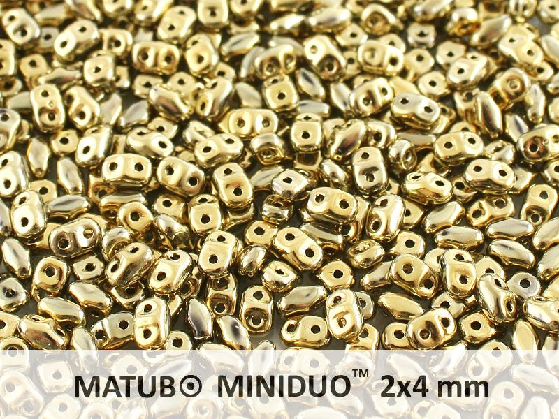 10 g 2-hole MiniDuo™ Pressed Beads, 2x4mm, Crystal Full Amber, Czech Glass