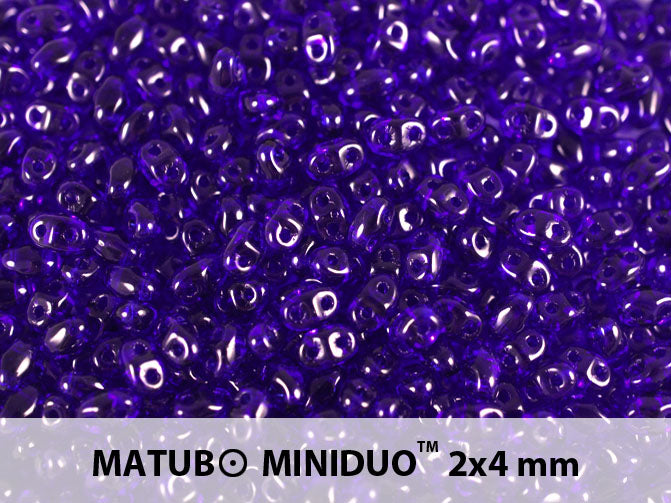 10 g 2-hole MiniDuo™ Pressed Beads, 2x4mm, Cobalt, Czech Glass