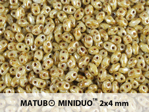 10 g 2-hole MiniDuo™ Pressed Beads, 2x4mm, Chalk White Drizzled Honey Luster, Czech Glass