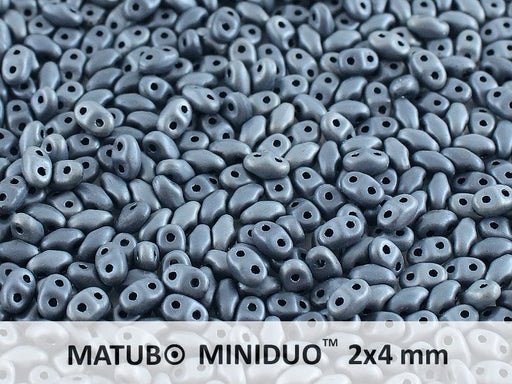 10 g 2-hole MiniDuo™ Pressed Beads, 2x4mm, Jet White Iris Matte, Czech Glass