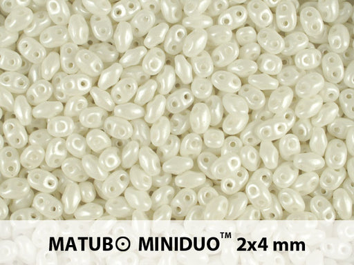 10 g 2-hole MiniDuo™ Pressed Beads, 2x4mm, Pearl Shine White, Czech Glass