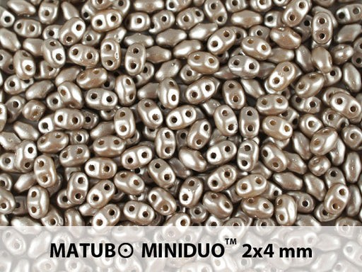 10 g 2-hole MiniDuo™ Pressed Beads, 2x4mm, Pastel Light Brown/CoCo, Czech Glass