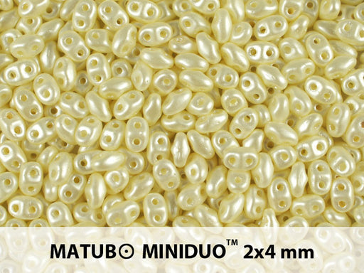 10 g 2-hole MiniDuo™ Pressed Beads, 2x4mm, Pastel Light Cream, Czech Glass