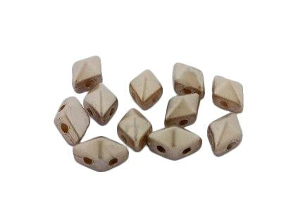 DiamonDuo™ Mini Beads 4x6 mm, 2 Holes, Pastel Light Brown Coco, Czech Glass