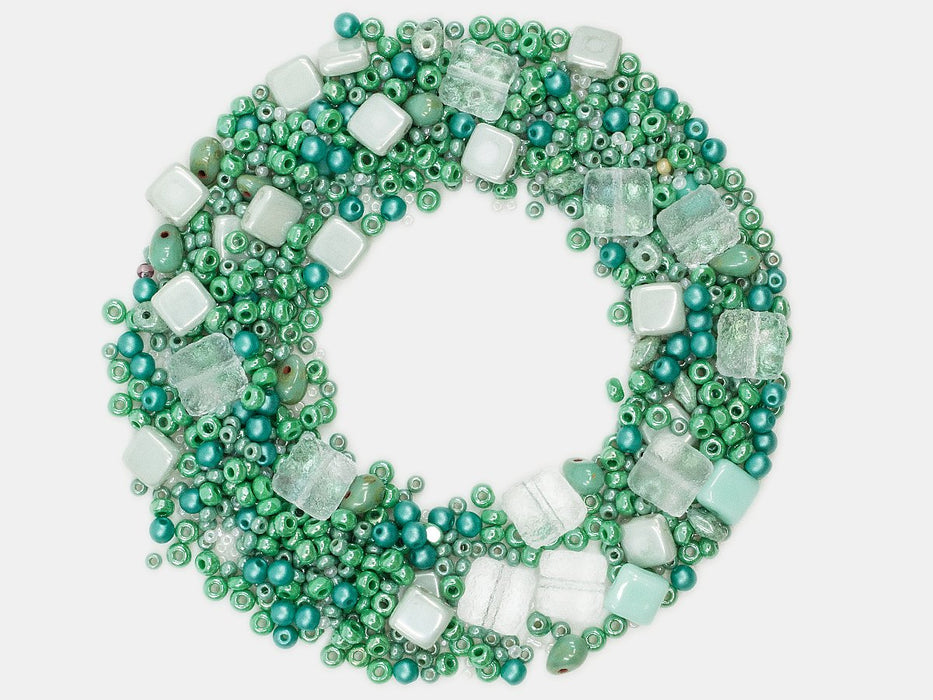 Mix Beads,  Light Green Gamma, Czech Glass