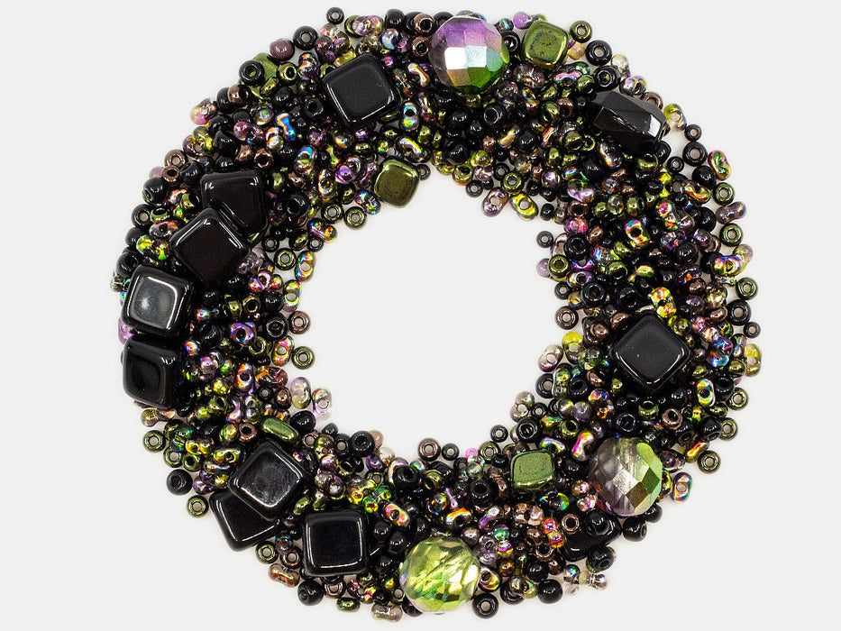 Mix Beads,  Black Vitrail, Czech Glass