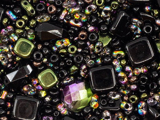 20 g Mix Beads,  Black Vitrail, Czech Glass