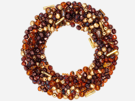 Mix Beads,  Gold Brown Gamma, Czech Glass