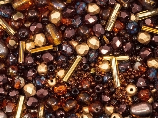 20 g Mix Beads,  Gold Brown Gamma, Czech Glass