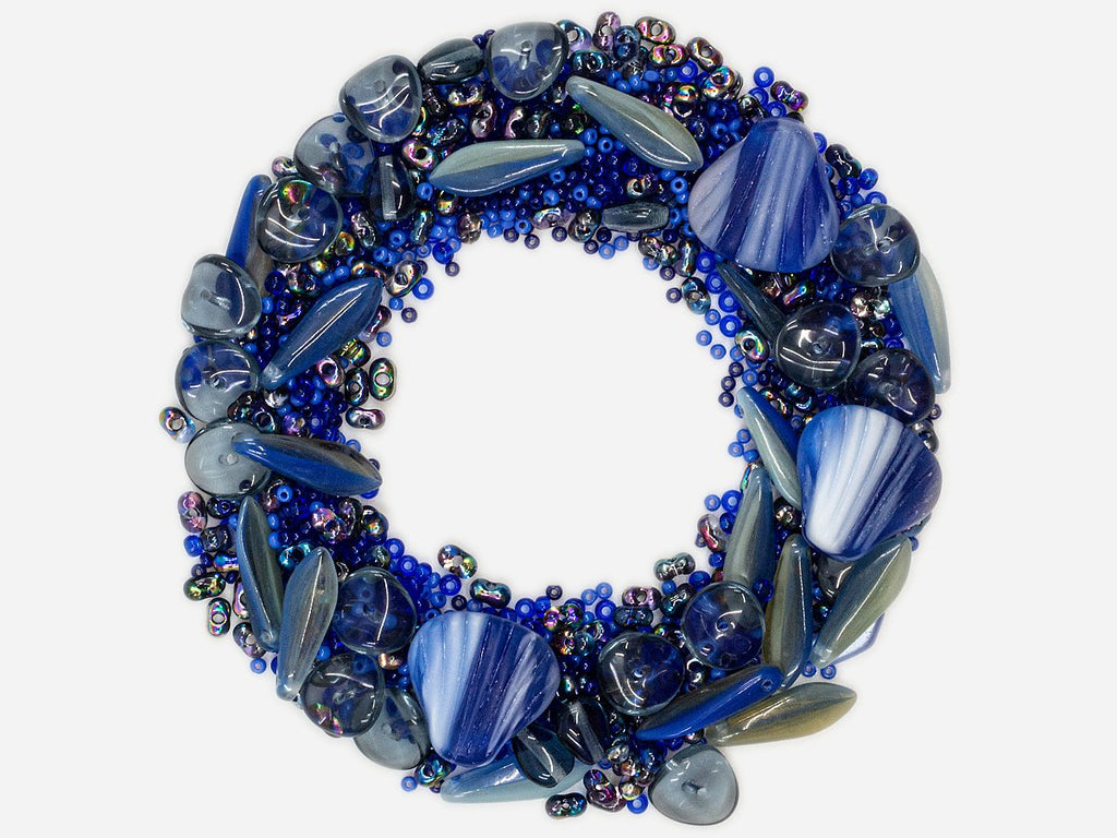 Mix Beads,  Blue Gray Gamma, Czech Glass