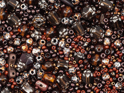 20 g Mix Beads,  Dark Brown Gamma, Czech Glass
