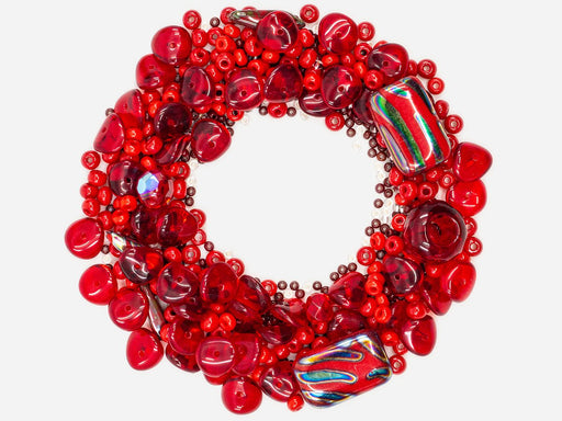 Mix Beads,  Red Coral Gamma, Czech Glass