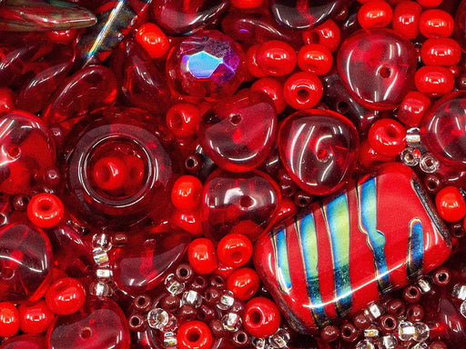 25 g Mix Beads,  Red Coral Gamma, Czech Glass