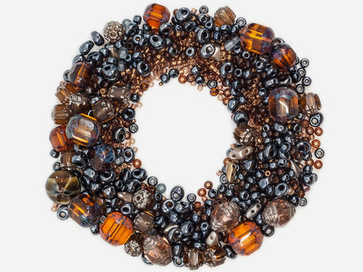 Mix Beads,  Gray Brown Gamma, Czech Glass