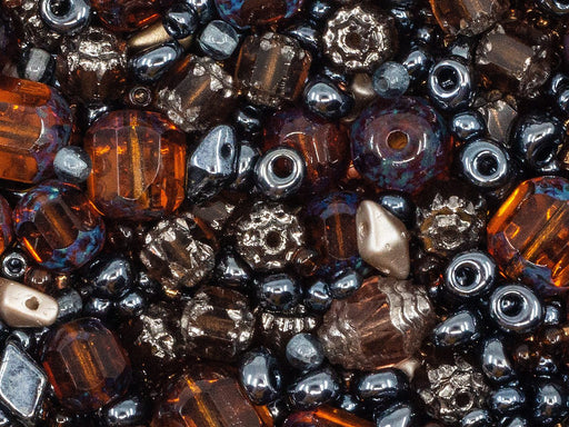 20 g Mix Beads,  Gray Brown Gamma, Czech Glass
