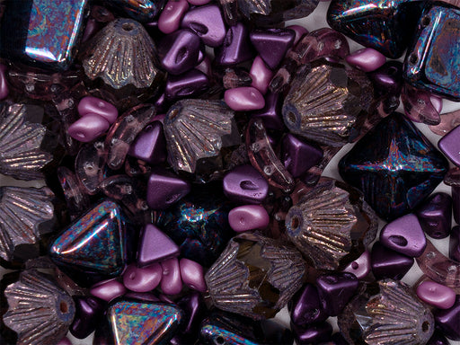 35 g Glass Bead Mix , Violet-Pink, Czech Glass