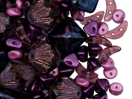 Glass Bead Mix , Violet Pink, Czech Glass